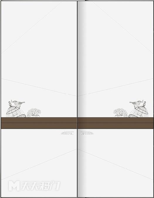斜线、色块、鸟笼、鸟、字母、咖色、腰线、移图 tr3199