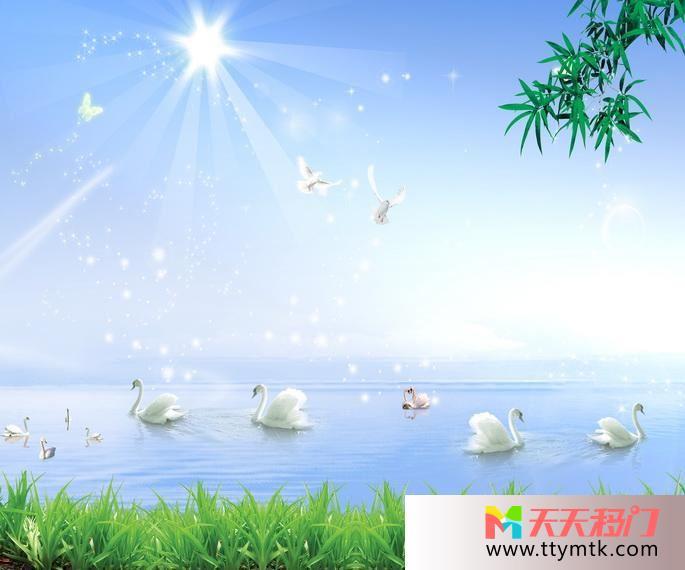 湖天鹅阳光移图 天鹅湖实木移门图片A-6836