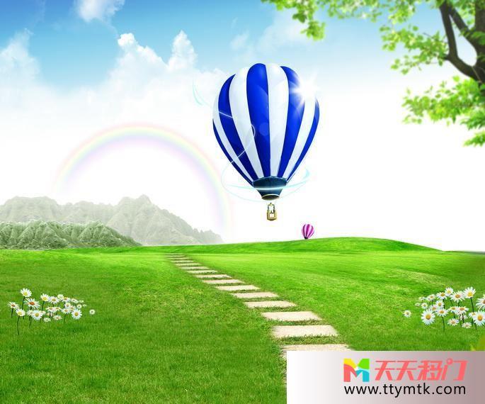 热气球草地山移图 热气球10-1169